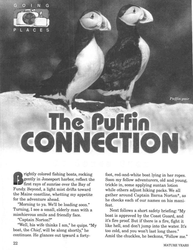 The Puffin Connection published in Mature years